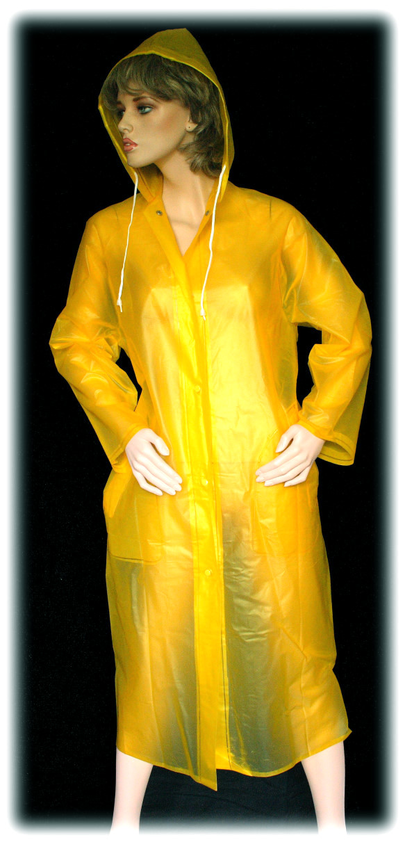 blickfang regenmantel gelb transparent pvc mantel gr 42 ebay. Black Bedroom Furniture Sets. Home Design Ideas